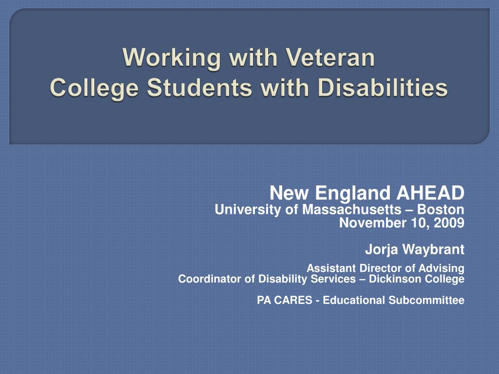 working with veteran college students with disabilities l.