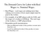 the demand curve for labor with real wages vs nominal wages