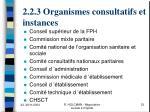 2 2 3 organismes consultatifs et instances