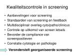 kwaliteitscontrole in screening