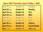 glynn crct schedule april 21 may 1 2008