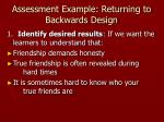 assessment example returning to backwards design