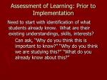 assessment of learning prior to implementation