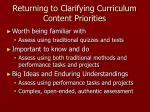 returning to clarifying curriculum content priorities