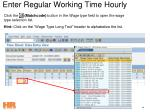 enter regular working time hourly