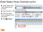 enter salary hours override cont d