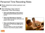 personnel time recording roles