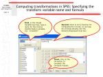 computing transformations in spss specifying the transform variable name and formula