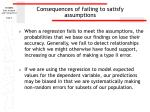 consequences of failing to satisfy assumptions