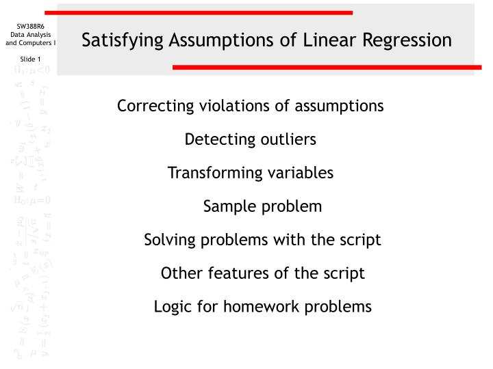 satisfying assumptions of linear regression n.