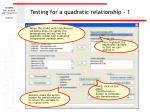 testing for a quadratic relationship 1