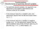 transformations transformation of positively skewed variables