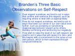 branden s three basic observations on self respect