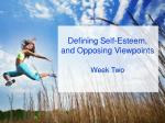 defining self esteem and opposing viewpoints