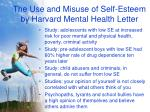 the use and misuse of self esteem by harvard mental health letter