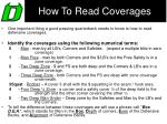 how to read coverages