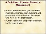 a definition of human resource management