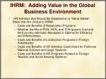 ihrm adding value in the global business environment