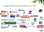sage accpac select customers in india