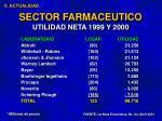 sector farmaceutico utilidad neta 1999 y 2000
