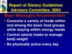 report of dietary guidelines advisory committee 2004