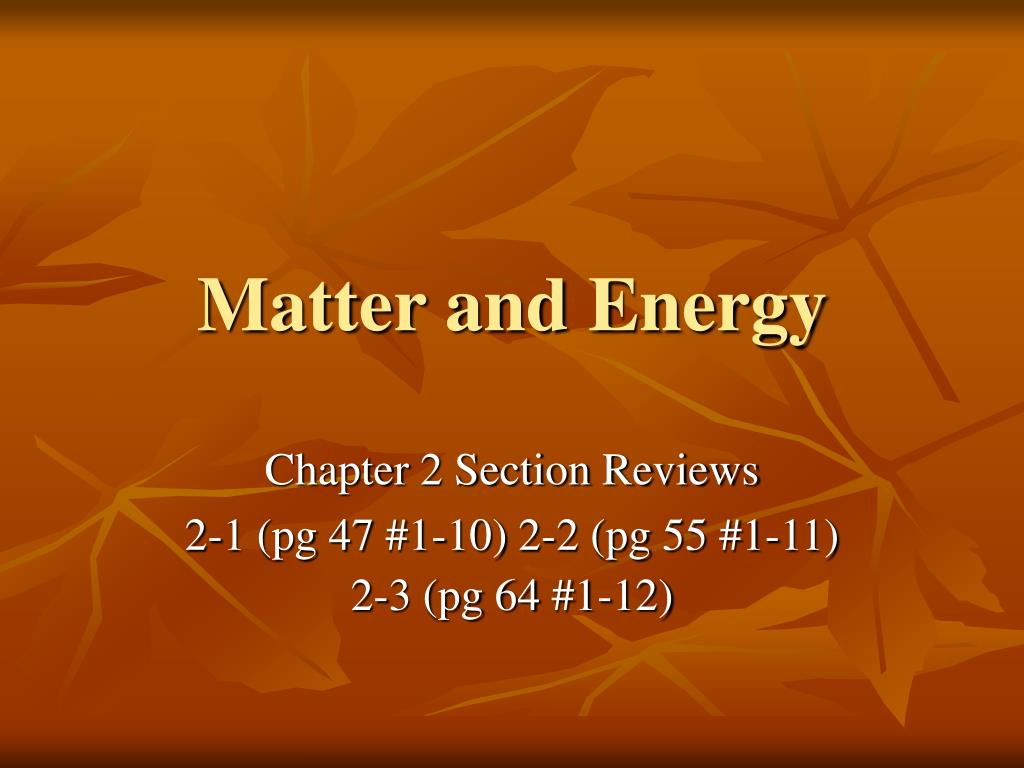 matter and energy l.