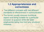 1 2 appropriateness and correctness