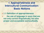 i appropriateness and intercultural communication basic notions