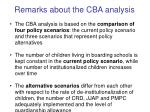 remarks about the cba analysis