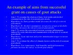 an example of aims from successful grant on causes of gout attacks