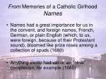 from memories of a catholic girlhood names