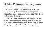 a priori philosophical languages