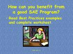 how can you benefit from a good sae program