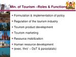 min of tourism roles functions