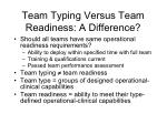 team typing versus team readiness a difference