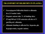 transport of bilirubin in plasma