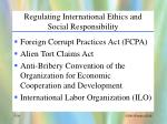 regulating international ethics and social responsibility