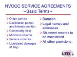 nvocc service agreements basic terms
