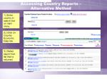 accessing country reports alternative method