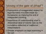 closing of the gate of ijtihad