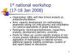 1 st national workshop 17 18 jan 2008