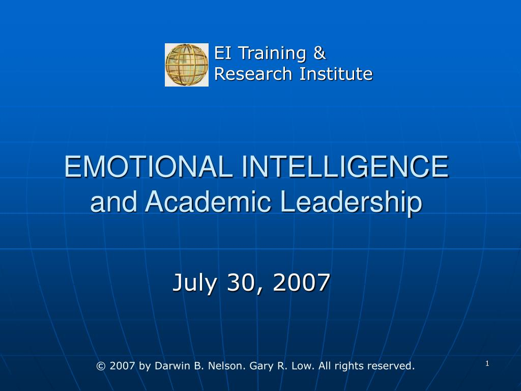 emotional intelligence and academic leadership l.
