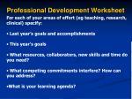 professional development worksheet