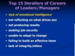 top 15 derailers of careers of leaders managers