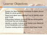 learner objectives