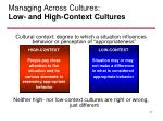managing across cultures low and high context cultures