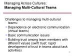 managing across cultures managing multi cultural teams