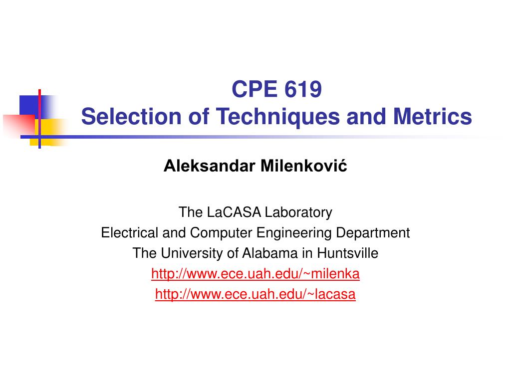 cpe 619 selection of techniques and metrics l.