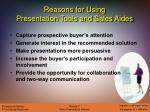 reasons for using presentation tools and sales aides