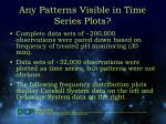 any patterns visible in time series plots